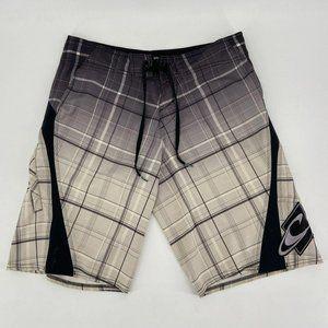 O'Neill Super Freak Black White Plaid Board Shorts